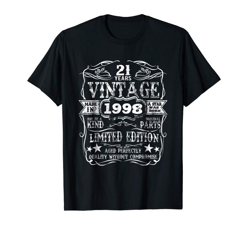 Buy Now Made In 1998 21 Years Old Vintage 21st Birthday Gift T-Shirt