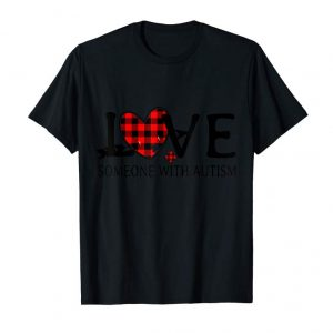 Get Love Someone With Autism Buffalo Plaid Puzzle Heart Shirt