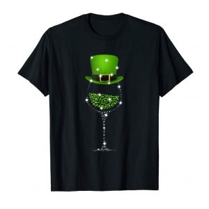 Trends St Patrick's Day Shamrock Wine Glass T Shirt For Women Men