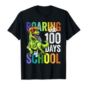 Get Now Roaring Into 100 Days Of School Dinosaur Rex Boys T Shirt.