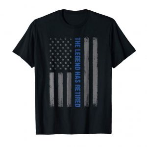 Trends The Legend Has Retired Police Tshirt Thin Blue Line USA Flag