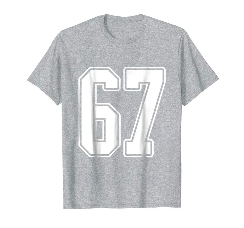 Order #67 White Outline Number 67 Sports Fan Jersey Style T-Shirt -  Tees Design