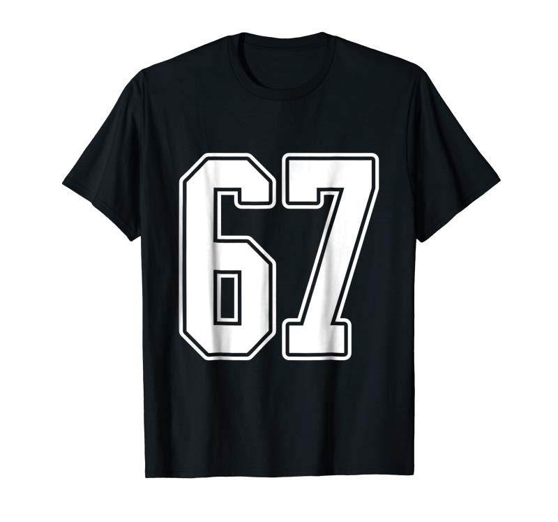 Order #67 White Outline Number 67 Sports Fan Jersey Style T-Shirt