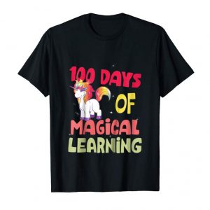 Trending Kids 100 Days Of School Unicorn Shirt For Girls Magical Rainbow