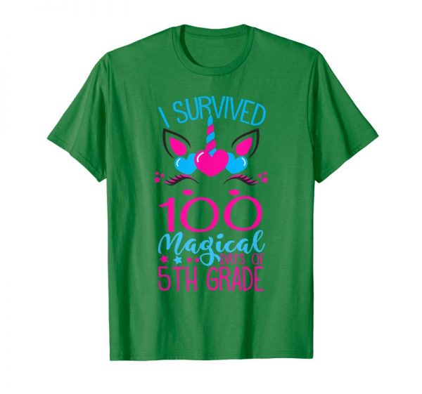 Trends I Survived 100 Magical Days Of 5th Grade Gift Unicorn Tshirt
