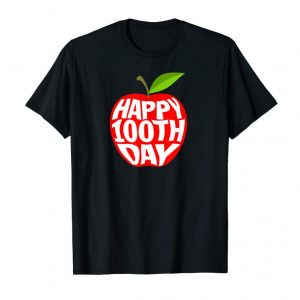 Order Now Happy 100th Day Bright Red Apple Teacher T-shirts