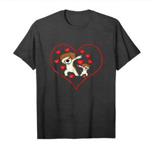 Cool Dog Dabbing Heart Valentine Day Funny Cute Gift Unisex T-Shirt
