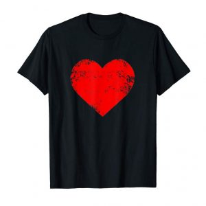 Buy Now Big Red Heart T-Shirt Distressed Valentines Day Gift Top Tee