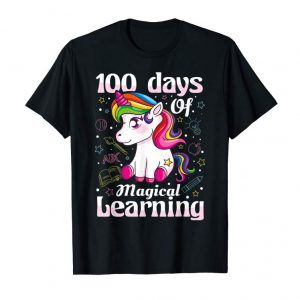 Cool 100th Day Of School Unicorn T Shirt Girls 100 Days Of School