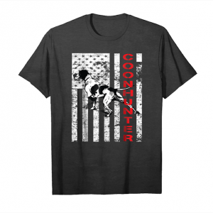 Buy Now Distressed Coon Hunting Tshirt With A Hound Dog And Usa Flag Unisex T-Shirt