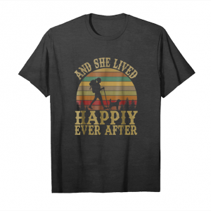 Order Now Vintage She Lived Happily Ever After Hiking And Cute Dog Tee Unisex T-Shirt