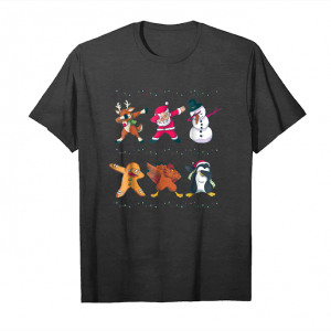 Cool Funny Dabbing Christmas Characters Shirt Kids, Youth Unisex T-Shirt