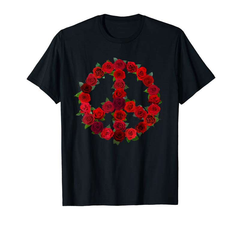 Trending Valentines Day Red Roses Peace Sign T-Shirt Gift - Rose Tee