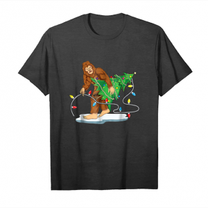 Buy Now Bigfoot Christmas Tree Shirt Men Boys Kids Sasquatch Santa Unisex T-Shirt
