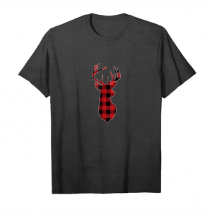 Get Red & Black Buffalo Plaid Flannel Christmas Deer T Shirt Unisex T-Shirt