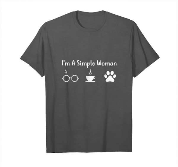 Buy I'm A Simple Woman Like Glasses Coffee And Dog Shirt Unisex T-Shirt
