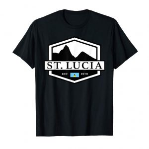 Get St. Lucia Pitons With Flag T-Shirt