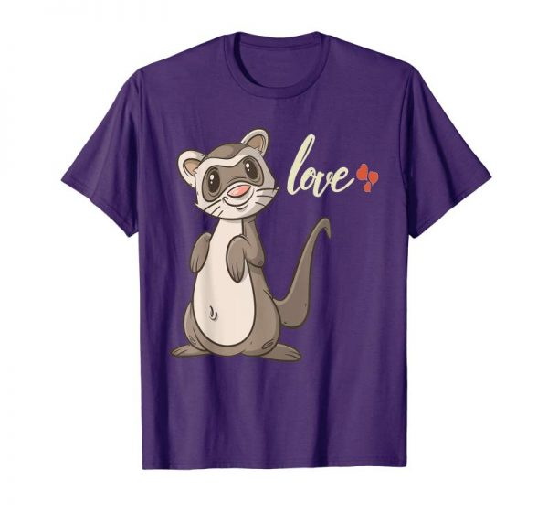 Trends Cute Valentines Day Ferret T Shirt Gift For Kids & Adults
