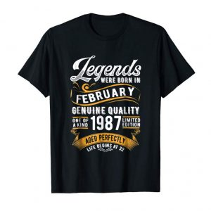 Order Now Legends Were Born In February 1987, 32nd Birthday Gift Shirt