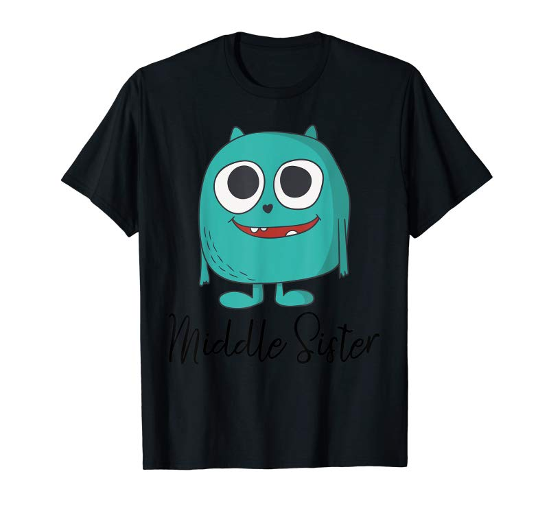 Cool Middle Sister Monster Shirt Pregnancy Announcement