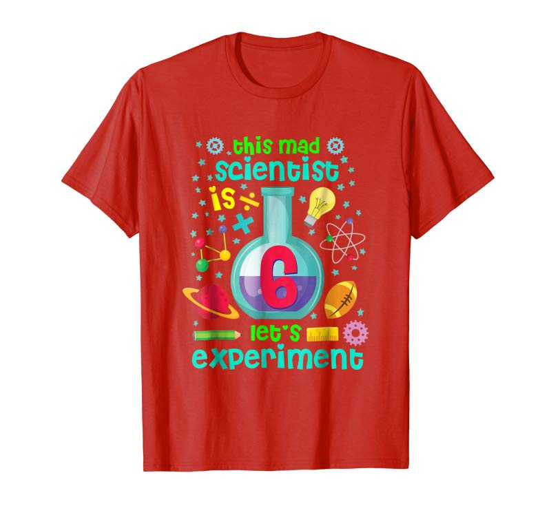 Trending Kids Birthday Shirt Age 6 Boys Girls Science Theme Party
