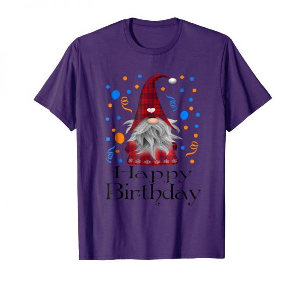 Trends Happy Birthday Gnome Plaid T Shirt Cute Party Gifts