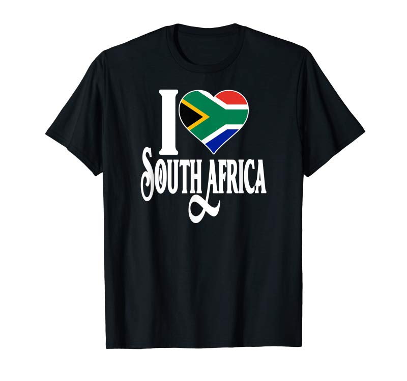 Get South African Pride I Love South Africa Flag T-shirt