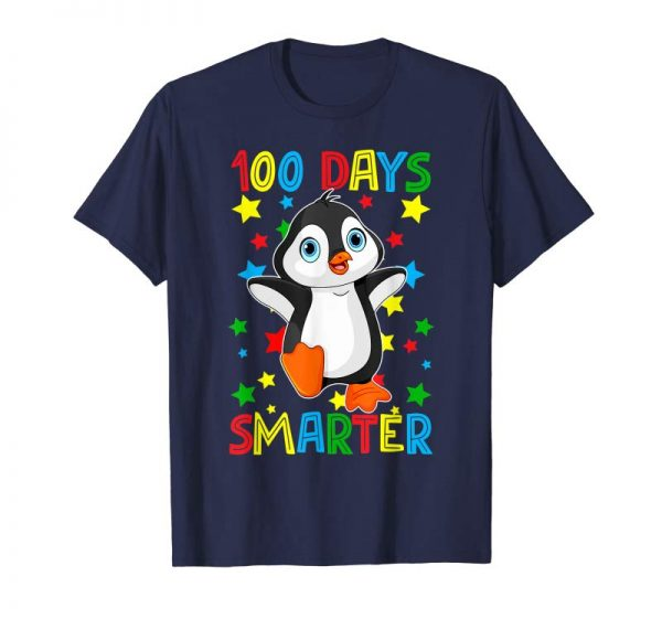 Buy 100 Days Smarter 100th Day Of School Funny Penguin T-Shirt