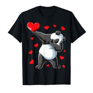 Order Dabbing Panda Heart T Shirt Valentines Day Girls Bear Gifts