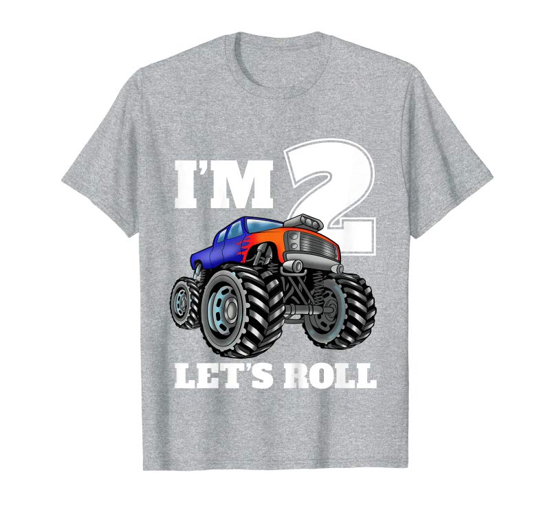 Trending Kids Monster Truck 2nd Birthday T Shirt Boy 2 Year Old Gift Tee