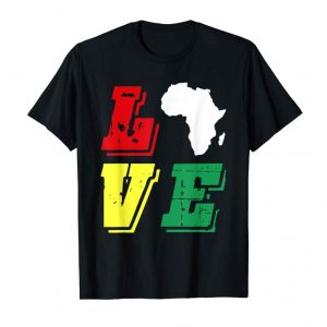 Buy Vintage LOVE Africa African Map Black History Month T-Shirt