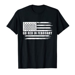 Get US-Flag Go-Red In-February T-Shirt Heart-Disease-Awareness