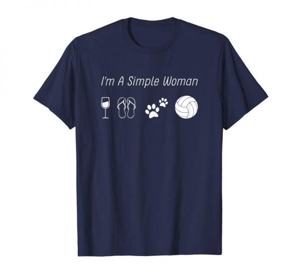 Get Now Womens I'm A Simple Woman T-shirt Love Wine Flip Flop Dog Volleybal