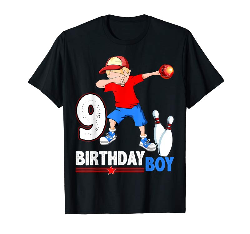 Trends Dabbing Bowler Bowling T Shirt 9th Birthday Boys Party Tees