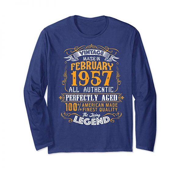 Cool Vintage 62nd Birthday February 1957 Shirt 62 Years Old