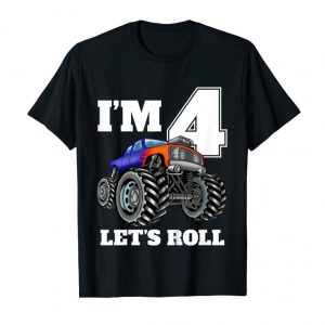 Get Now Kids Monster Truck Birthday 4th Birthday T Shirt Boy 4 Year Old