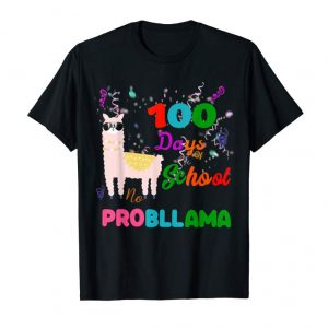 Buy 100 Days Of School Shirt Llama No Probllama Alpaca Cute Tee