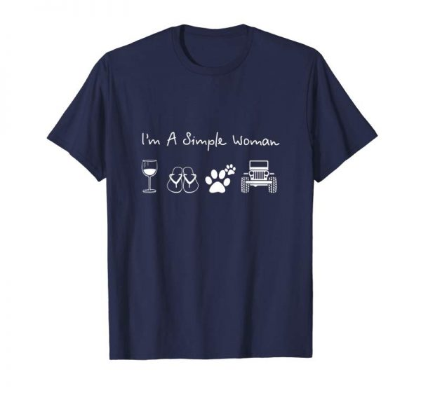 Trends I'm A Simple Woman T-Shirt Love Wine Flip Flop Dog And Jeeps