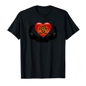 Buy Cool Love In Japanese Kanji T-shirt Heart In Hands Tee
