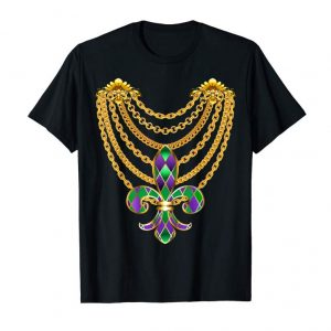 Order Fat Tuesday Mardi Gras Fleur-de-lis Gold Chains T-Shirt