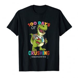 Get Kids T-Rex Dino 100 Days Crushing Kindergarten T-Shirt