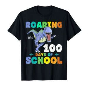 Trends Dinosaur T-Rex Roaring Into 100 Days Of School Shirt