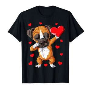 Trends Dabbing Boxer Valentines Day Shirt Dog Lover Heart Boys Love