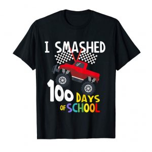 Get Now Kids I Smashed 100 Days Of School - Red Monster Truck T-Shirt