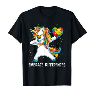 Order Now Autism Awareness Embrace Differences Dabbing Unicorn T-Shirt