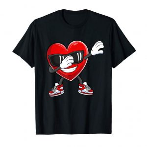 Trends Dabbing Heart T-Shirt Funny Valentines Day Gift Boys Kids