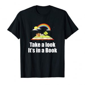 Cool Vintage Take A Look It's In A Book Rainbow Reading T Shirt