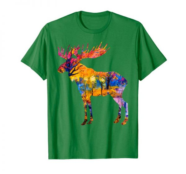 Buy Now Colorful Canadian Moose Tshirt Abstract Paint Wildlife Tee