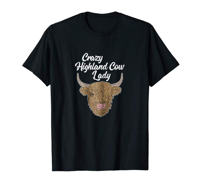 Trends Womens Crazy Highland Cow Lady Farm Animal Lover Gag Gift