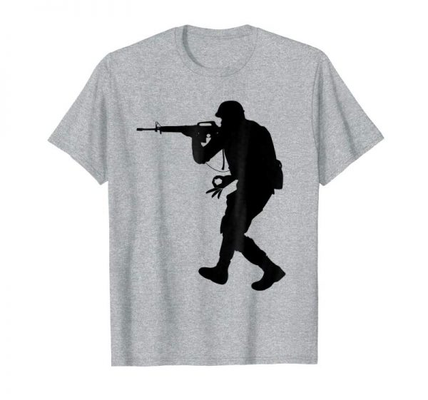 Order Army Soldier War Guns Circle Hole Punch Game Tee Shirts
